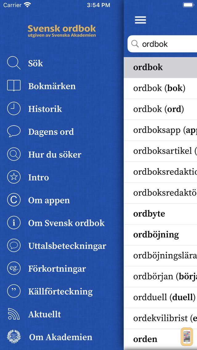 Screenshot - Svensk ordbok