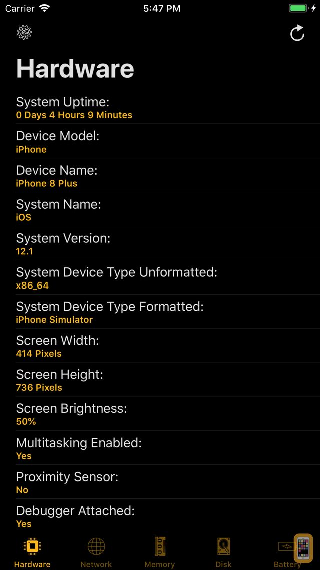 Screenshot - Device System Services