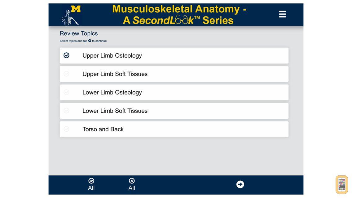 Screenshot - MSK Anatomy - SecondLook