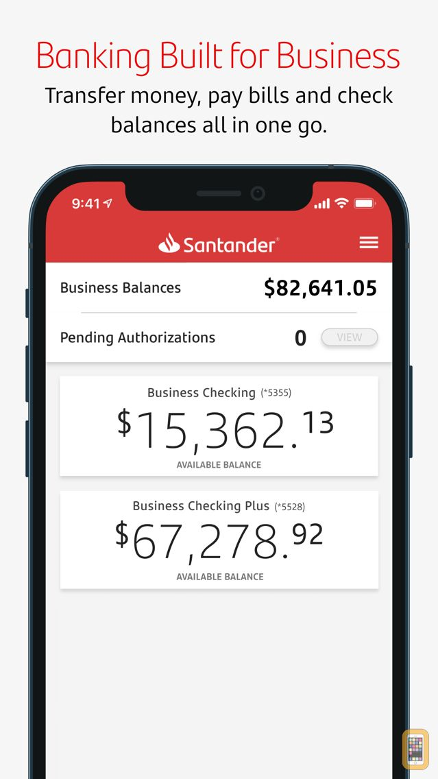 Screenshot - Santander Business Banking