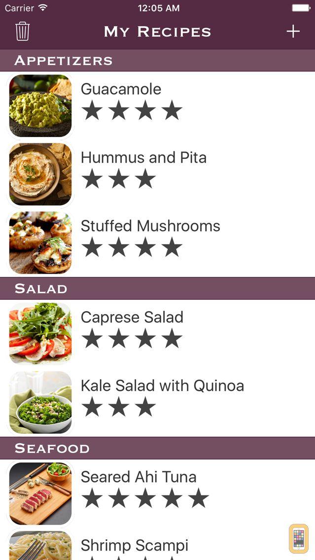 Screenshot - My Recipes List