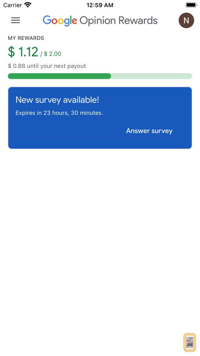 Screenshot - Google Opinion Rewards