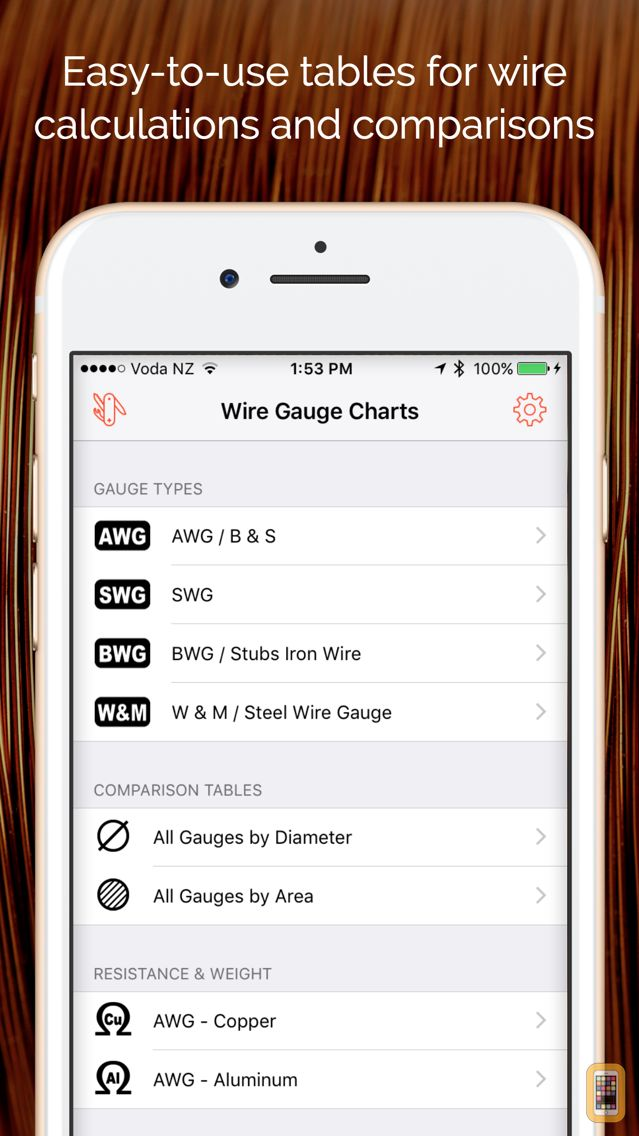 Wire gauge charts size tables for awg swg bwg for iphone ipad screenshot wire gauge charts size tables for awg swg bwg greentooth Choice Image