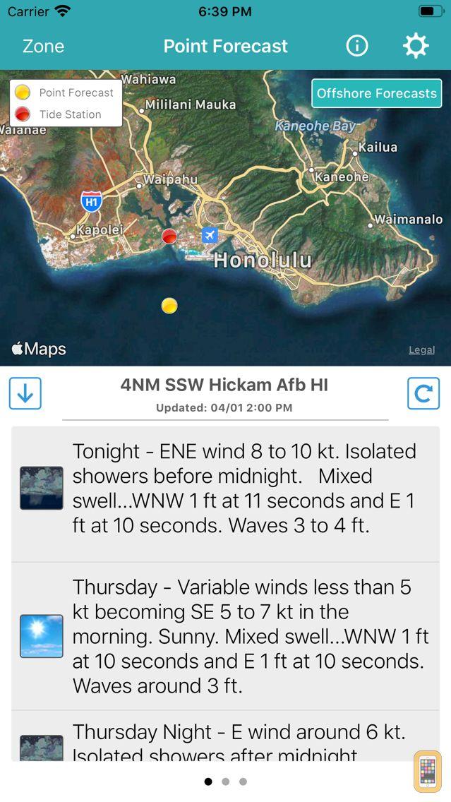 Screenshot - NOAA 5-day Marine Forecast