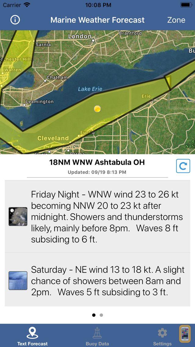Screenshot - Lake Erie Boating Weather