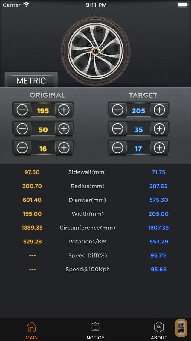 Screenshot - Tire Convert Calc