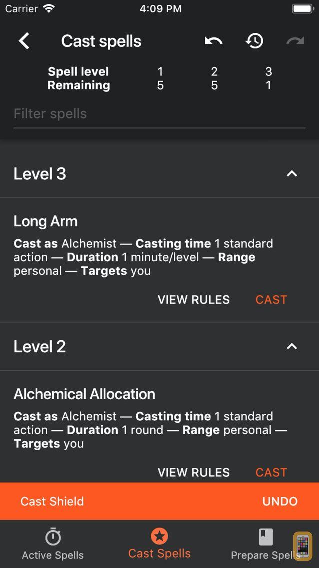 Screenshot - Spell Tracker for Pathfinder