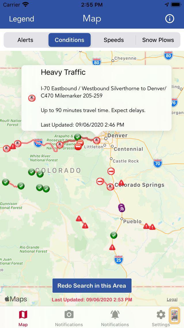Screenshot - CDOT Colorado Road Conditions