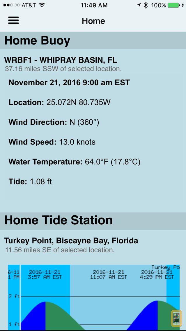 Screenshot - NOAA Buoy and Tide Data