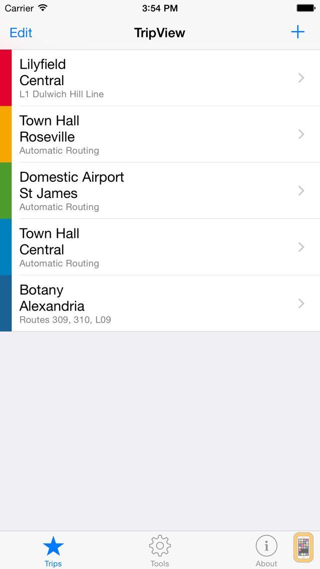 Screenshot - TripView - Sydney & Melbourne