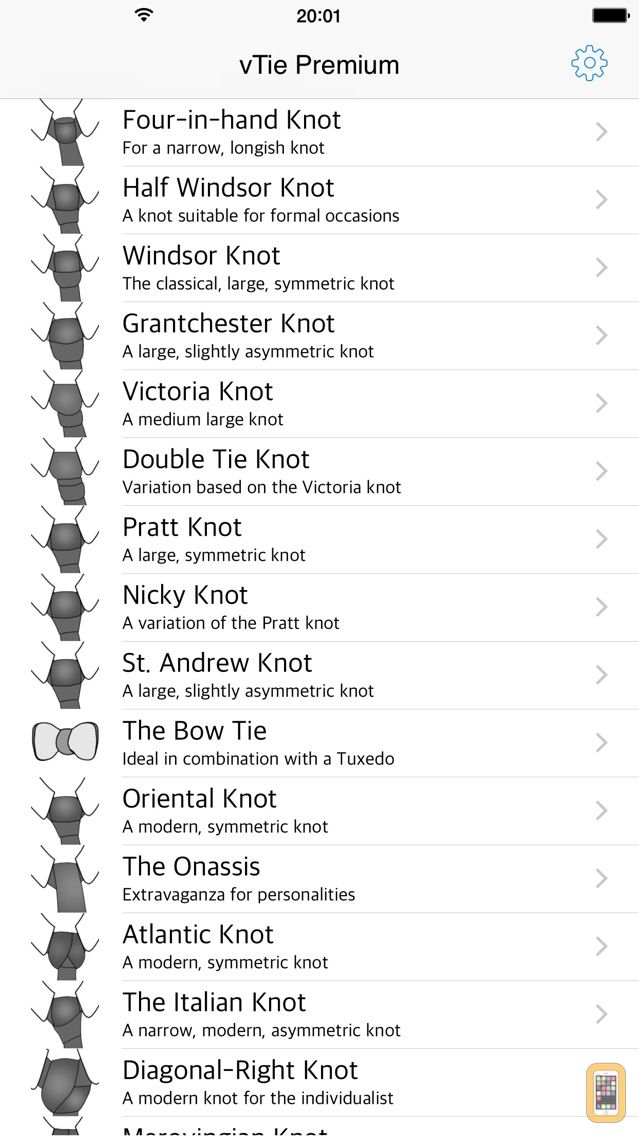 Screenshot - vTie Premium - tie a tie guide with style for occasions like a business meeting, interview, wedding, party