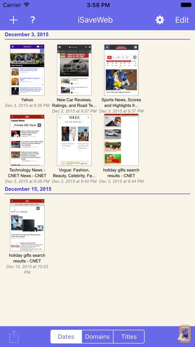 Screenshot - iSaveWeb - web saving tool