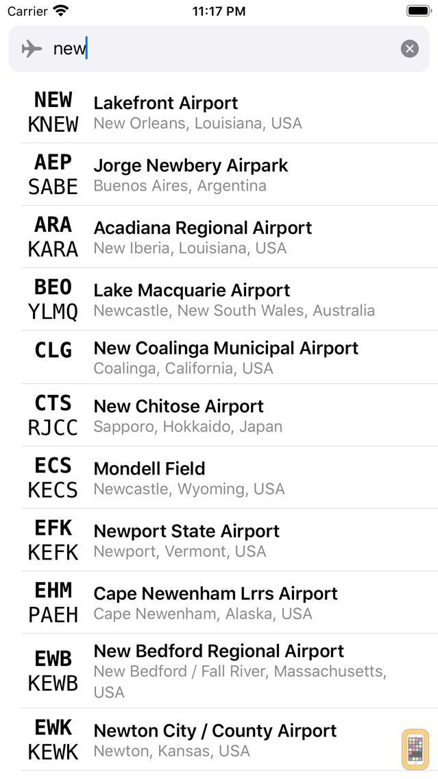 Screenshot - Airport Codes