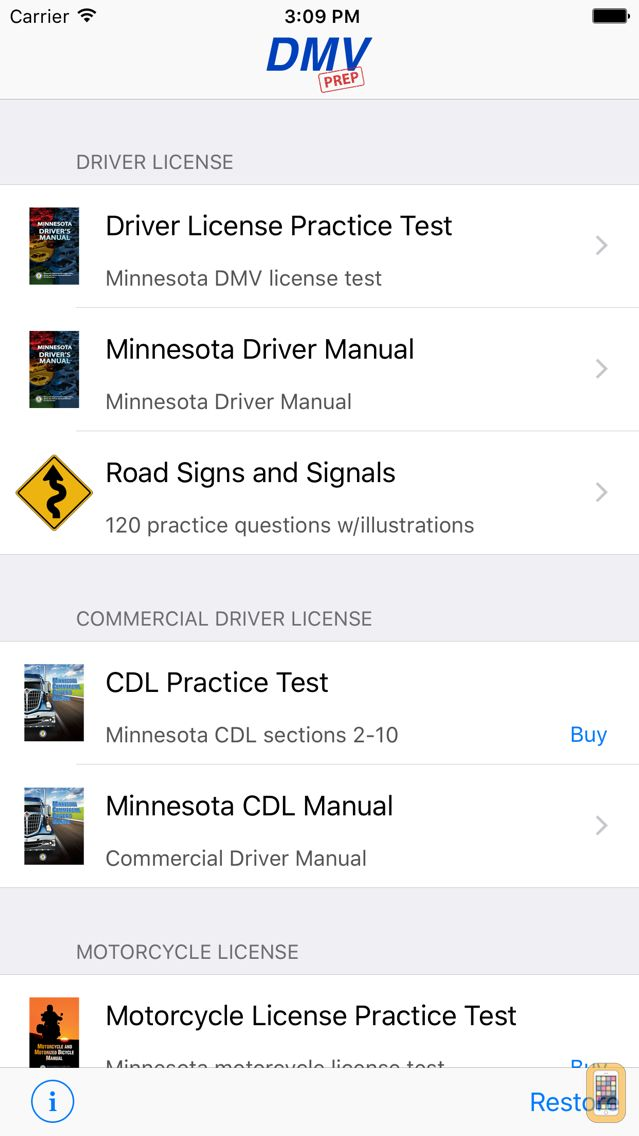 Screenshot - Minnesota DMV Test Prep
