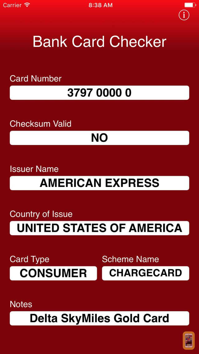 Screenshot - Bank Card Checker