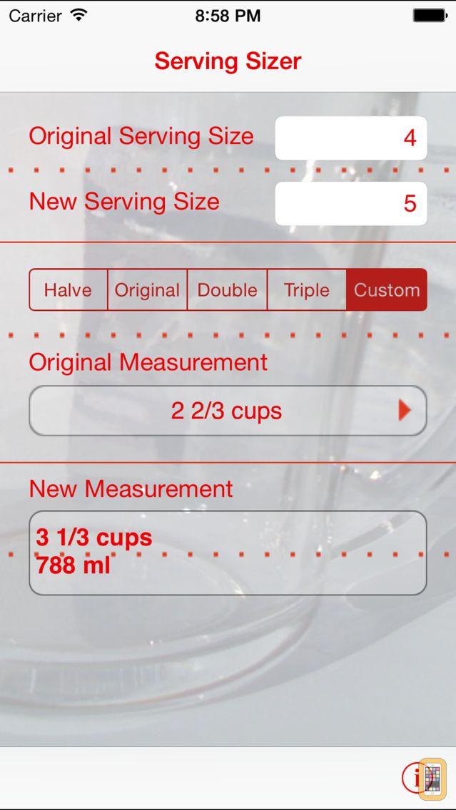 Screenshot - Serving Sizer recipe converter