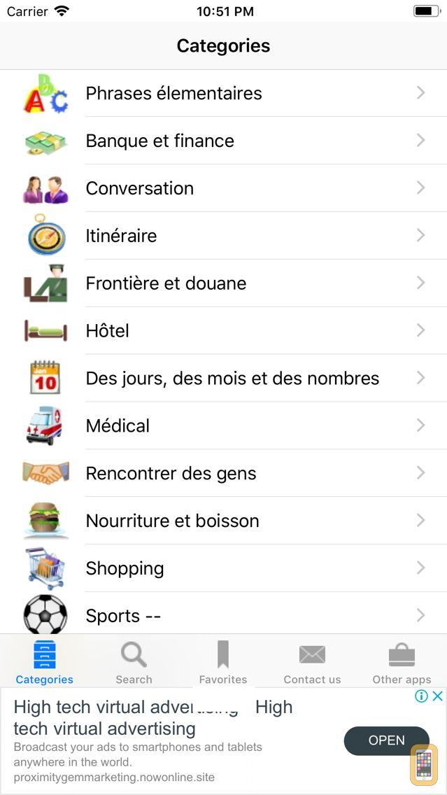 Screenshot - French to English Phrasebook
