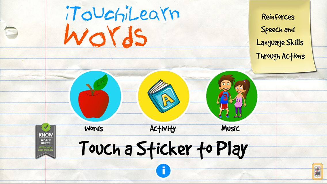 Screenshot - iTouchilearn Words for Preschool Reading, Spelling, Speech Skills