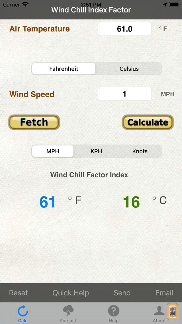 Screenshot - Wind Chill & Wind Speed