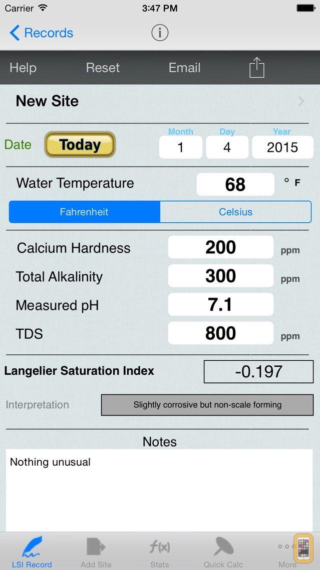 Screenshot - Langelier Saturation Index, LSI Job Logbook