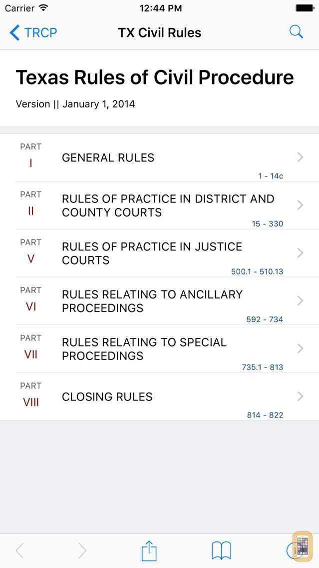 Screenshot - Texas Rules of Civil Procedure (LawStack's TX Law)