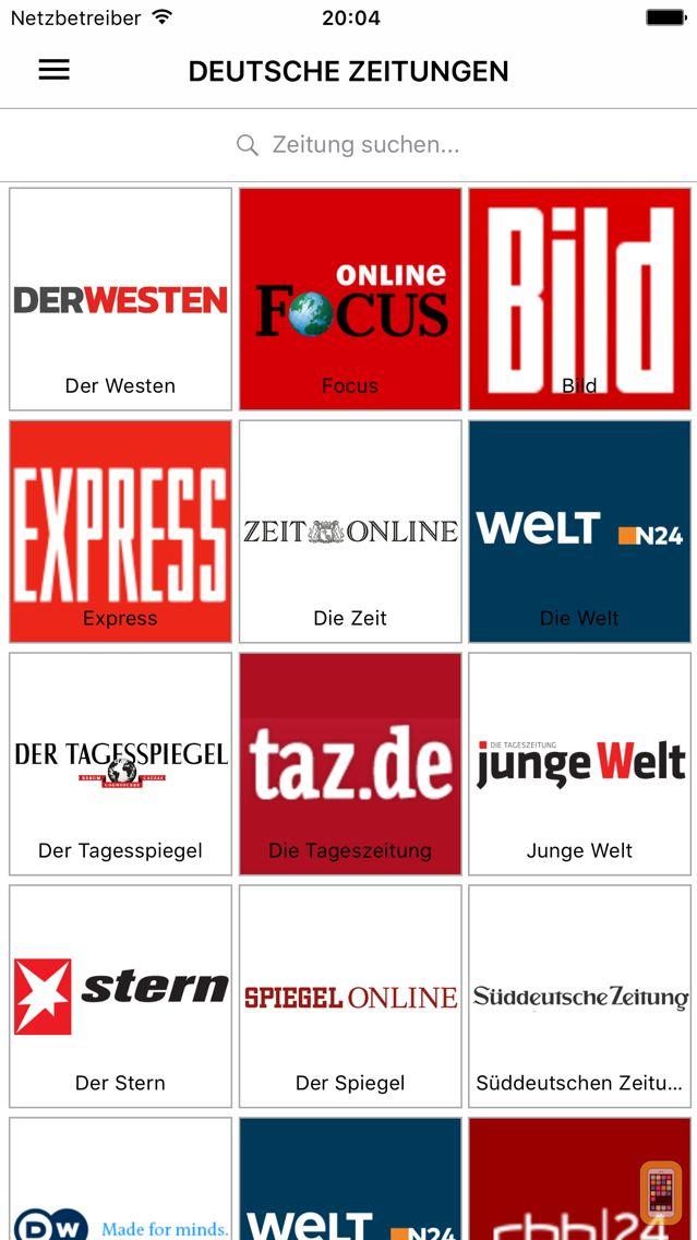 Screenshot - Deutsche Zeitungen