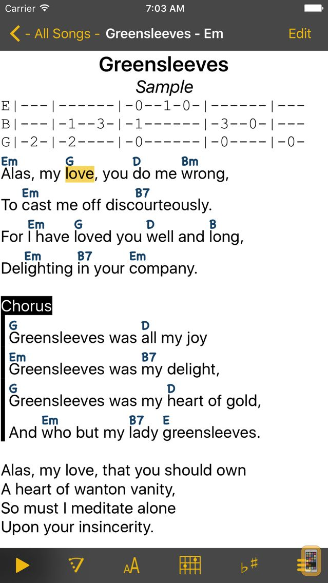 Screenshot - SongBook Chordpro