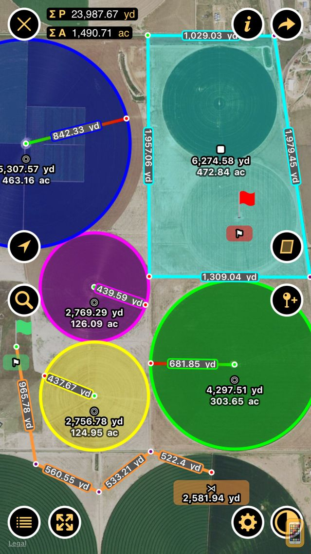 Screenshot - Planimeter - Measure Land Area & Distance on a Map