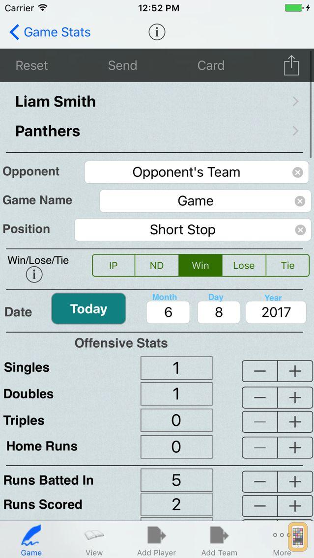 Screenshot - Baseball Player Stats Tracker