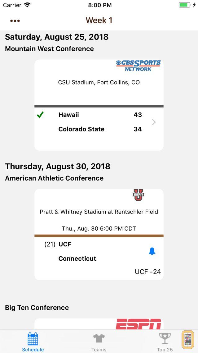 Screenshot - College FB Scores & Schedules