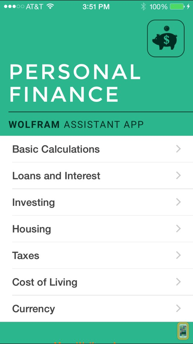 Screenshot - Wolfram Personal Finance Assistant App