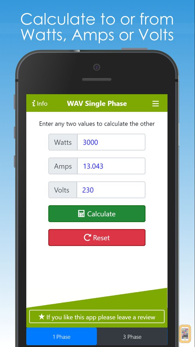 Watts Amps Volts Calculator for iPhone - App Info & Stats | iOSnoops