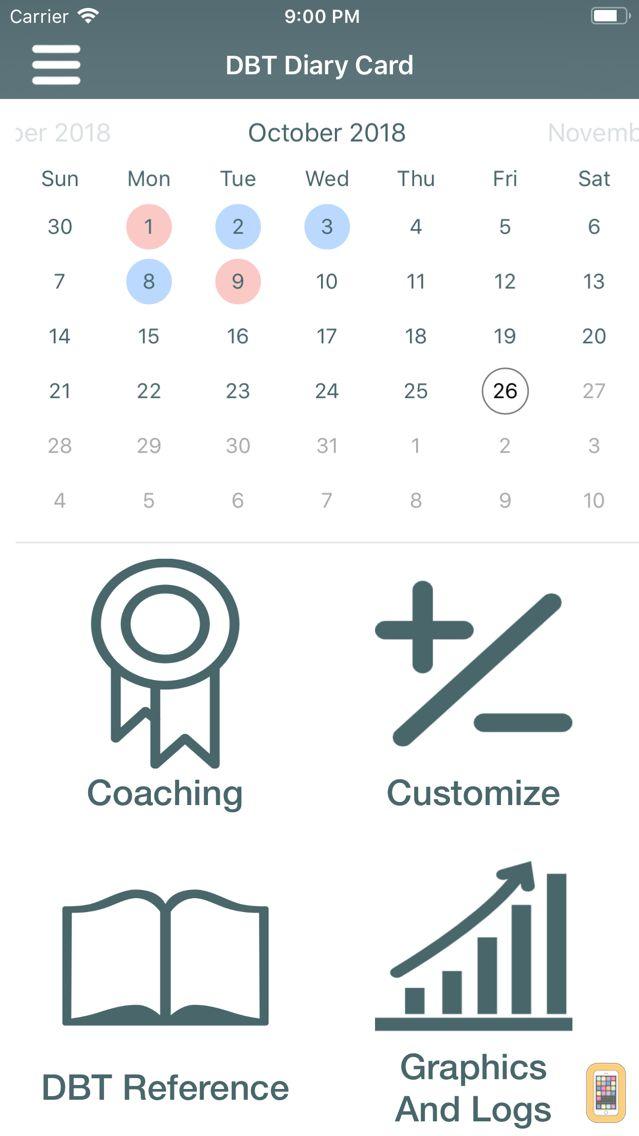 Screenshot - DBT Diary Card & Skills Coach