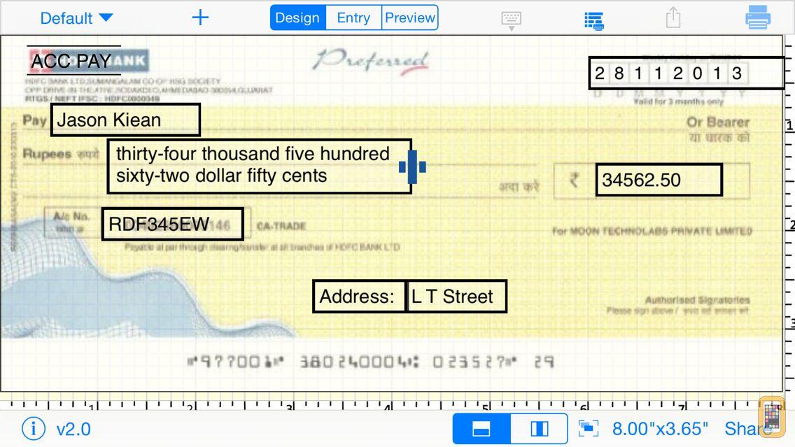 Screenshot - Print Cheque