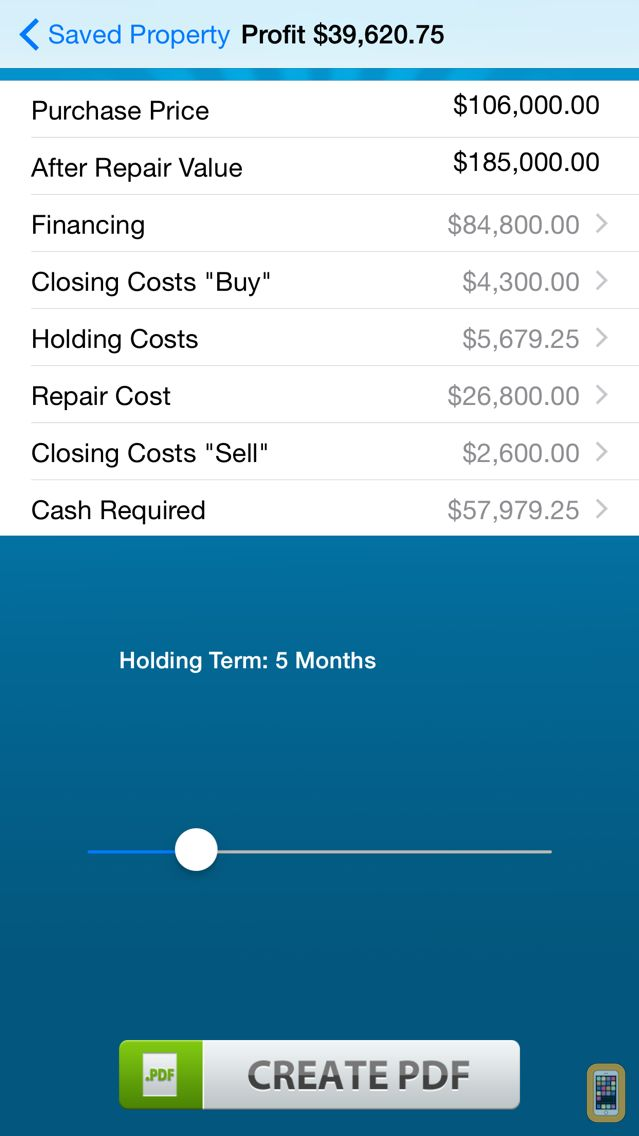 Screenshot - Real Estate Flip - Investing Calculator