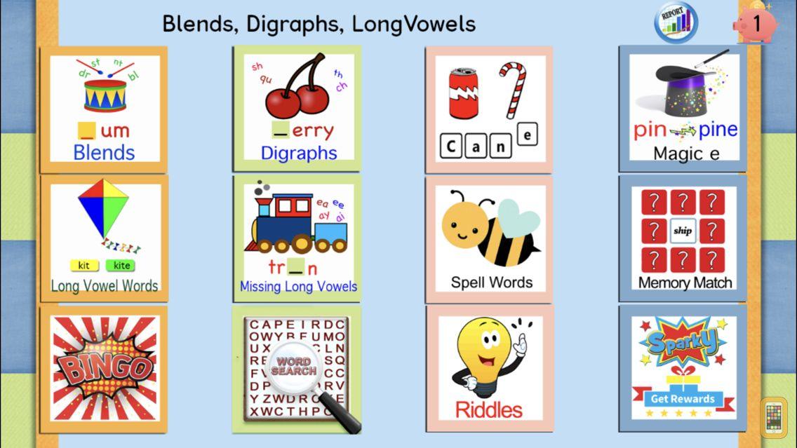 Screenshot - Long Vowels, Digraphs, Blends
