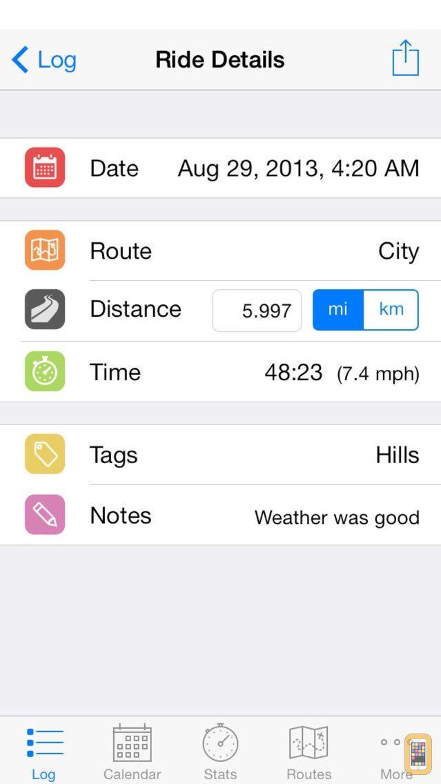 Screenshot - Cyclist Log