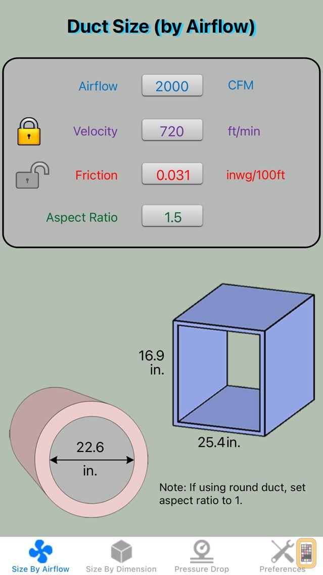 Screenshot - Duct Calculator Elite