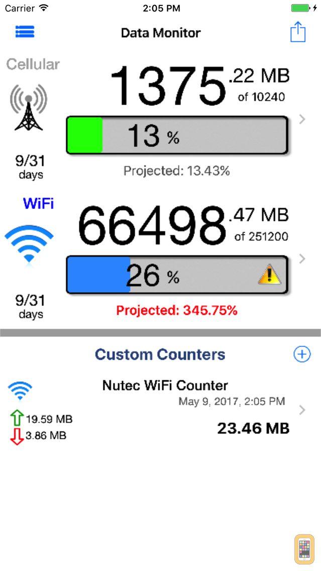 Screenshot - Data Monitor Pro - Control Data Usage in Real Time