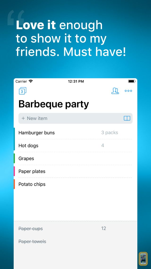 Screenshot - Buy Me a Pie! - Grocery List
