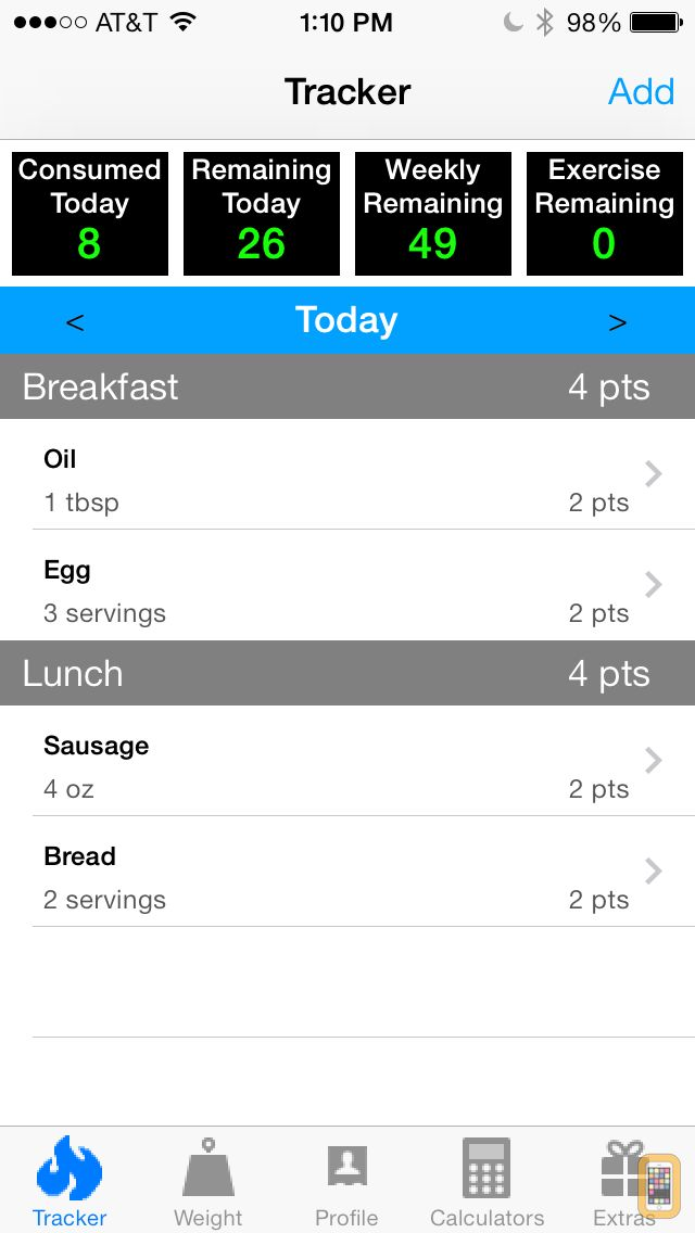 Screenshot - Pts. Calculator With Weight and Exercise Tracker for Weight Loss - Fast Food and Calorie Watchers Diary App by Awesomeappscenter