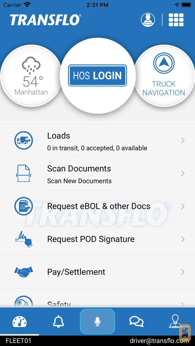 Screenshot - TRANSFLO Mobile+