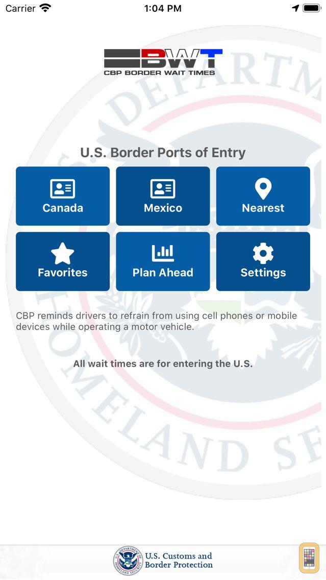 Screenshot - CBP Border Wait Times