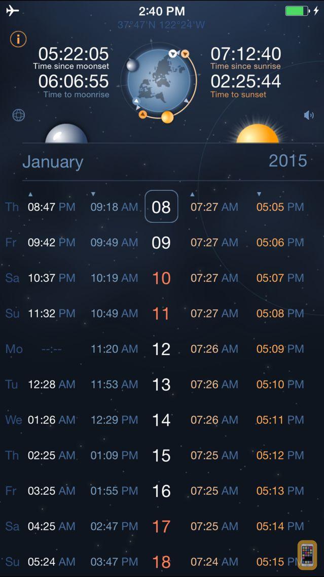 Screenshot - Raise and Set Times - Moonrise, moonset, sunrise, sunset times and compass