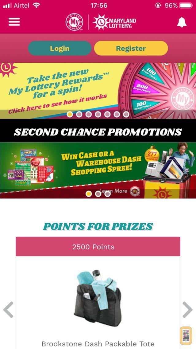 Screenshot - MD Lottery-My Lottery Rewards