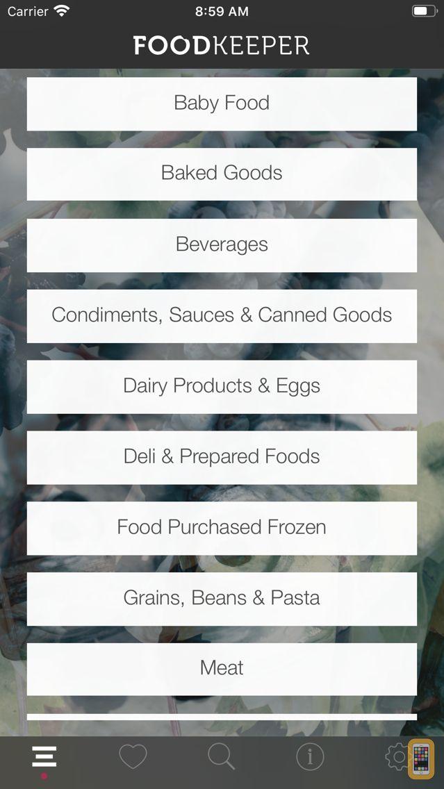Screenshot - USDA FoodKeeper