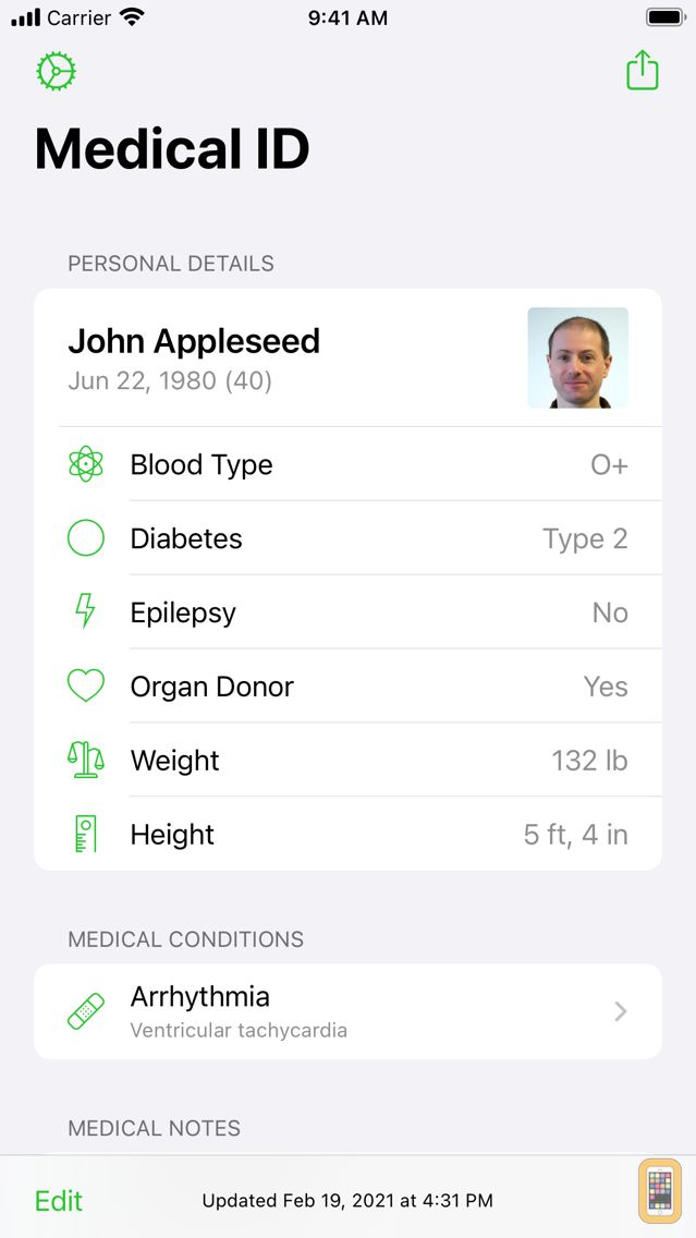 Screenshot - Medical ID Record